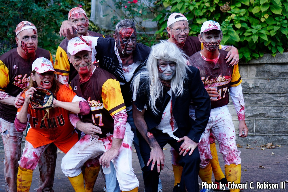 Families and groups love to dress up for the annual zombie event!