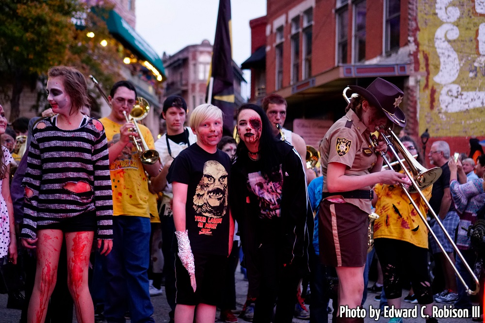 Zombie marching band in downtown Eureka Springs, Arkansas.