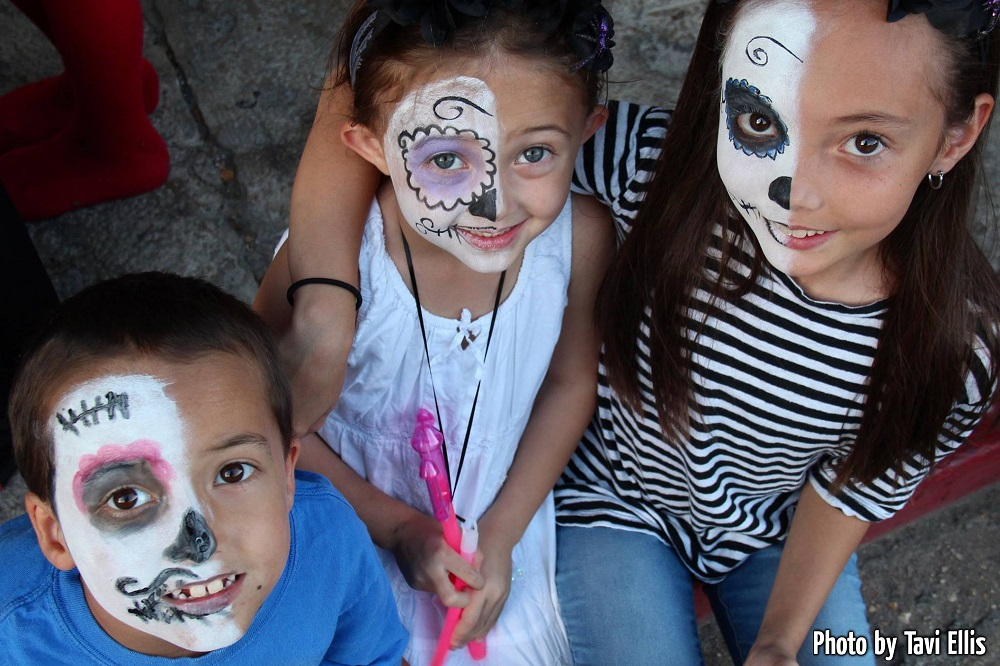 kids ready for the zombie parade
