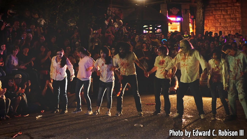 Zombie Flash Mob Lining up to Take a Bow
